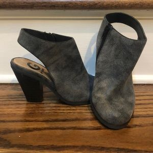 G by Guess Gray Western Slingback Clog Bootie